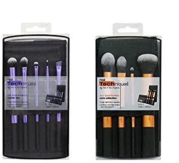 Real Techniques Core Collection Hand Cut Hair Design Makeup Brush Set, Includes: Detailer, Pointed Foundation, Buffing and Contour Brushes, with Brush ...