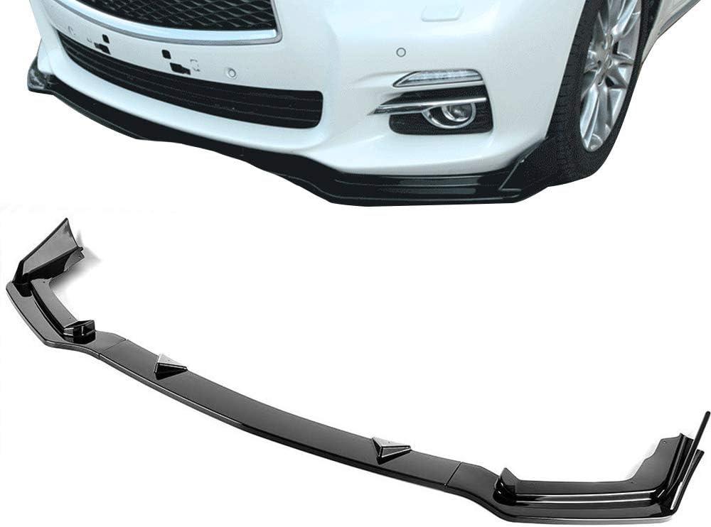 3pcs Front Bumper Lip Splitter for Infiniti Q50 2014-2017 Sport Trim Protection Splitter Spoiler Bright Black