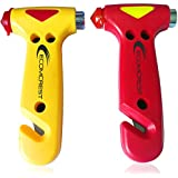 Car Safety Hammer, Window Breaker and Seatbelt Cutter. Pack of 2.
