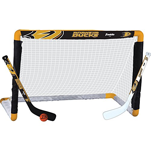 Franklin Sports Anaheim Ducks Mini Hockey Knee Hockey Goal, Ball & 2 Stick Combo Set - 28
