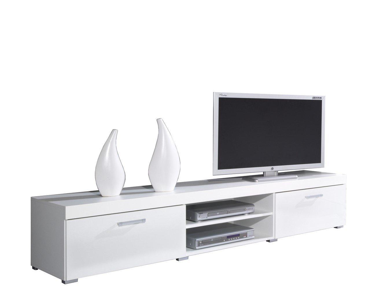 Tv Schrank Tv Niedrigboard SAMBA Hochglanz (Weiß     Weiß Hochglanz) 61a866
