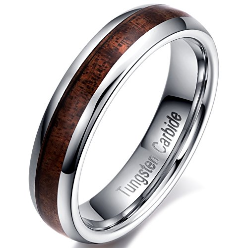 (Men Women 5mm Tungsten Carbide Vintage Wedding Ring Acacia Wood Inlay Engagement Promise Band Comfort Fit Size 8)