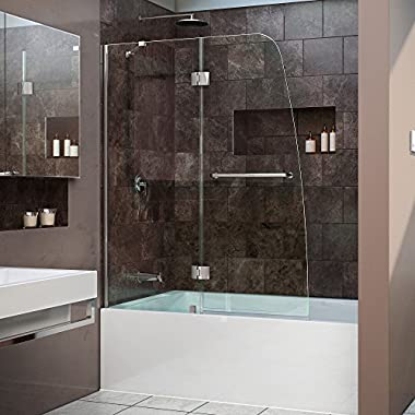 DreamLine Aqua 48 in. Width, Frameless Hinged Tub Door, 1/4  Glass, Chrome Finish