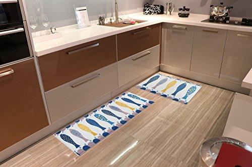 Homcomoda 2 Piece Soft Flannel Kitchen Rugs Runner Non-slip Kitchen Floor Mat Bath Rugs Doormat Carpet Set (15.72