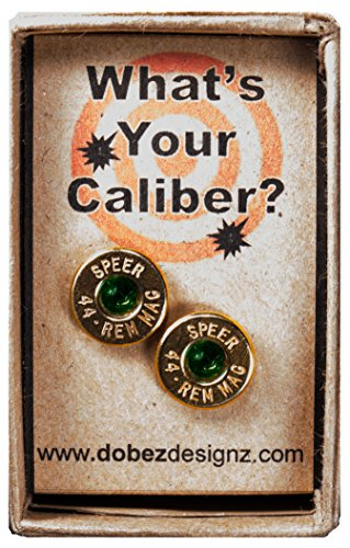 .44 Rem Magnum Gold Plated Stud Earrings with Swarovski Crystals- Emerald Green (Speer)