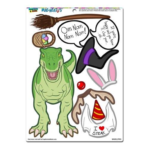 Graphics and More 'Tyrannosaurus Rex Dress-Up' T-Rex Dinosaur Funny MAG-NEATO'S Novelty Gift Paper Doll Locker Refrigerator Vinyl Magnet Set Doll Fridge Magnet