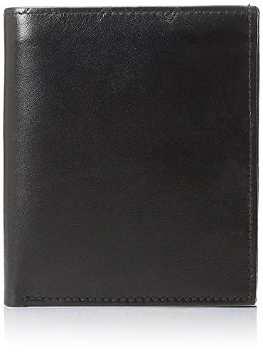 Improving Lifestyles SUN 5101 BK Men's Big Hipster Bifold Leather Wallet Organza Gift Bag, Black