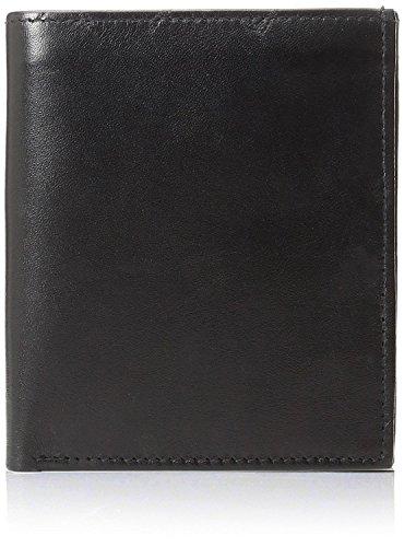 Improving Lifestyles SUN 5101 BK Men's Big Hipster Bifold Leather Wallet Organza Gift Bag, Black - Bk Leather