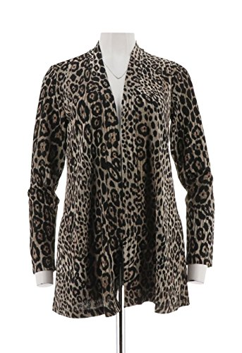 Susan Graver Printed Novelty Knit Cardigan A300529, Brown, XS