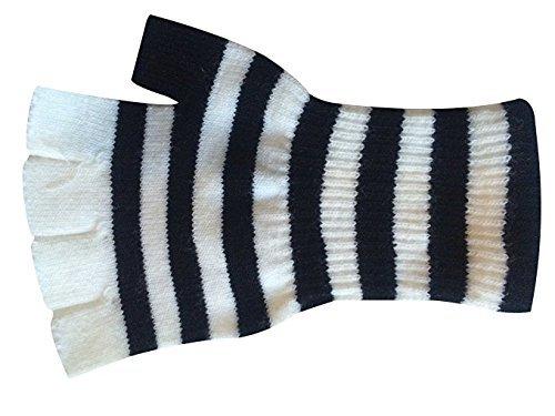 Halloween Wholesalers Men's Striped Short Fingerless Gloves (White) -