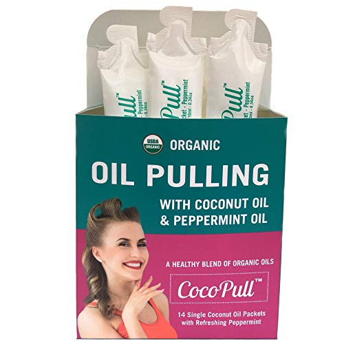 CocoPull - Organic Oil Pulling with Coconut Oil and Peppermint Oil for Healthy Teeth and Gums and Bad Breath Remedy. Natural Teeth Whitening with 14 Unrefined Oil Pulling Packets. (Benefits Of Oil Pulling With Sesame Oil)