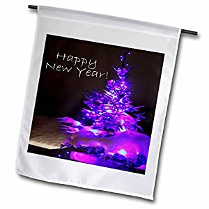 Yves Creations Pretty Christmas Tree - Pretty Christmas Tree Happy New Year in Purple With White Text - 18 x 27 inch Garden Flag (fl_8896_2)
