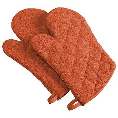 DII 100% Cotton, Machine Washable, Heat Resistant, Everyday Kitchen Basic, Terry Oven Mitt, 7 x 13 , Set of 2, Spice