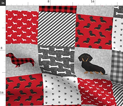 Dachshund Fabric - Pet Quilt A Dog Breed Cheater Black and Tan Wholecloth Weener Dogs Portrait Gift Print on Fabric by The Yard - Sport Lycra for Swimwear Performance Leggings Apparel Fashion