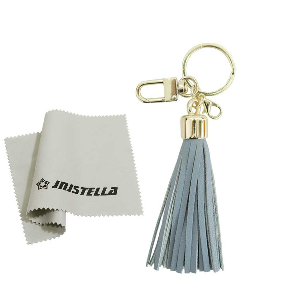 Genuine Leather Cowhide Tassel Bag Charm Keychain Key Ring (Sky Blue-thin)