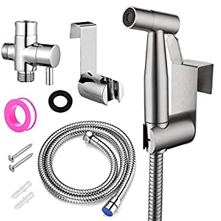 BOTINDO Handheld Bidet Toilet Sprayer, Baby Cloth Diaper Sprayer and Shower Sprayer for Pet,Stainless Steel Sprayer Attachment with Hose for Feminine Wash (Silver)