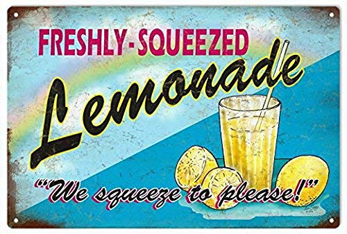 FDerks Metal Sign Vintage Advertisement Signs Freshly Squeezed Lemonade 12 X18 Tin Country Decor Sign (Vintage Lemonade)