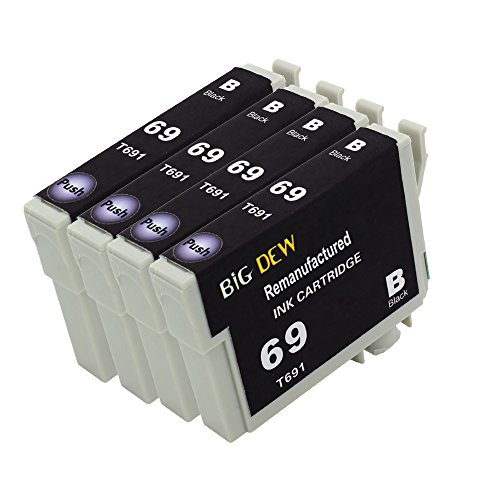 Big Dew 4 Pack Remanufactured 69 Black ink Cartridge For Epson Stylus C120 CX5000 CX6000 CX8400 CX9400 NX215 NX305 NX400 NX410 NX415 NX515 WorkForce 1100 1300 30 310 615 Printers (Epson 69 Compatible Black Ink)