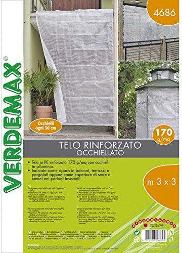 Verdemax 4686 3 x 3 m Transparent Reinforced PE Sheet with Raffia and Eyelets