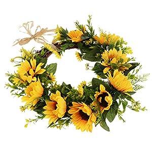 SM SunniMix 12 inch Simulation Silk Sunflower Wreath Door Wall Ornament for Home Window Christmas Decoration 94