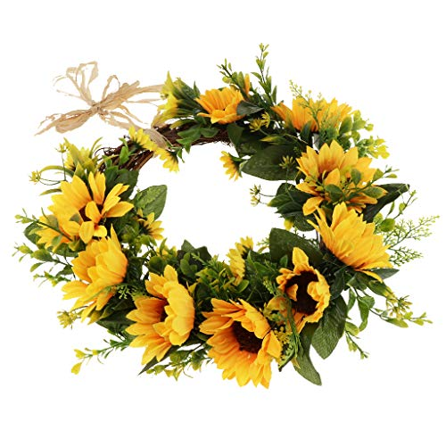 SM SunniMix 12 inch Simulation Silk Sunflower Wreath Door Wall Ornament for Home Window Christmas Decoration