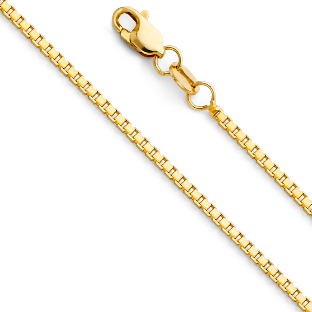 14k Yellow Gold SOLID 1.1mm Box Link Chain Necklace with Lobster Claw Clasp - 18''
