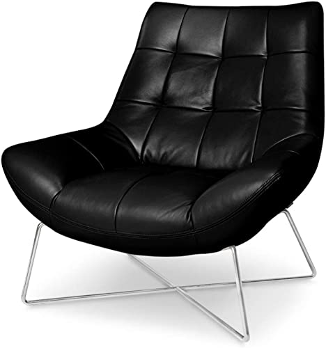 Zuri Furniture Medici Tufted Leather Modern Accent Chair – Black
