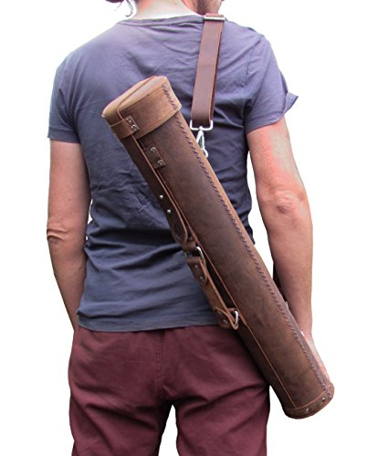 Leather Document Tube Art Roll Blueprint Bag - Summit-2 - from One Leaf by One Leaf