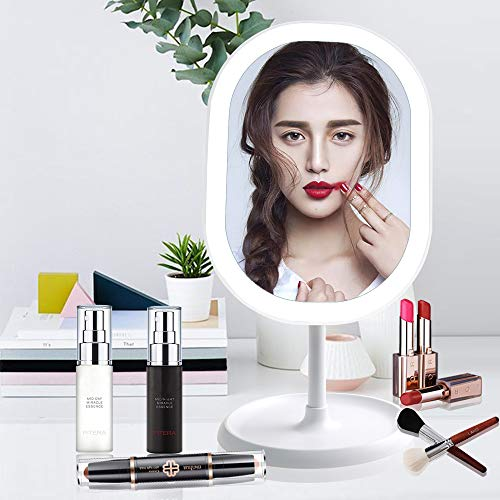 LED Lighted Makeup Mirror with Lights, Juhefa [Rechargeable] Portable Vanity Mirror, Touch Screen Switch,180 Degrees Free Rotation