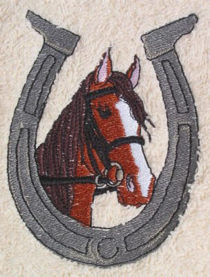Bath Towel Set with Embroidered Horse Head in Horse Shoe