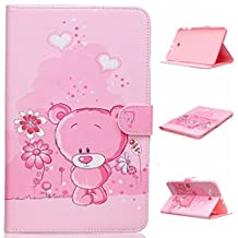 Tablet Samsung Galaxy Tab E 9.6 Book Case,Samsung Galaxy T561/T560 Stand Cover,[Vibrant Patterns][Stand Features] Flip Cover Case for Galaxy Tab E 9.6 Protector-Pink bear