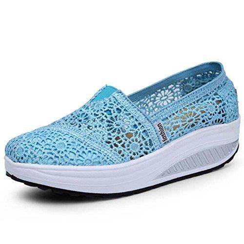 Angelliu Womens Fantaisie Creux En Dentelle Plate-forme Épaisse Chaussures Casual Formateurs Sandales Bleu