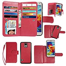 Case for Samsung Galaxy S5, xhorizon Premium Leather Folio Case [Wallet Function] [Magnetic Detachable] Fashion Wristlet Lanyard Hand Strap Purse Soft Flip Book Style Multiple Card Slots Cash Compartment Pocket with Magnetic Closure Case Cover Skin ZA5 for Samsung Galaxy S5 (i9600) - Red