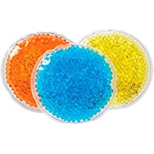 Reusable Hot Cold Packs with Flexible Gel Beads - Round Ice Packs - Therapeutic Hot or Cold Therapy for Back, Neck, Eye, Shoulder, Foot, Knee Pain or Injuries - 3 Pack (Orange,Teal,Yellow)