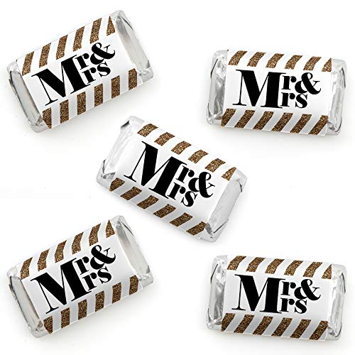 (Mr. & Mrs. - Gold - Mini Candy Bar Wrapper Stickers - Wedding or Bridal Shower Small Favors - 40 Count)