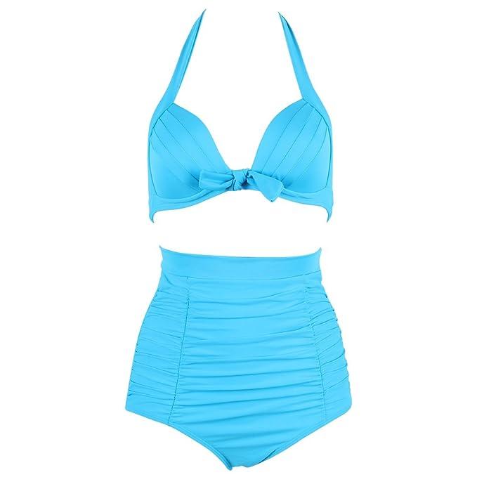 b67905edf7b8 Lover-Beauty Bikini Damen Set Push up Sexy High Waist Sport Badeanzug  Bademode Tankini Vintage Blumen  Amazon.de  Bekleidung