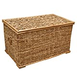 Rattan Wicker Lined Rustic Trunk or Laundry, Storage Basket, Toy Chest (Small - W 61 x D 33 x H 33cm)
