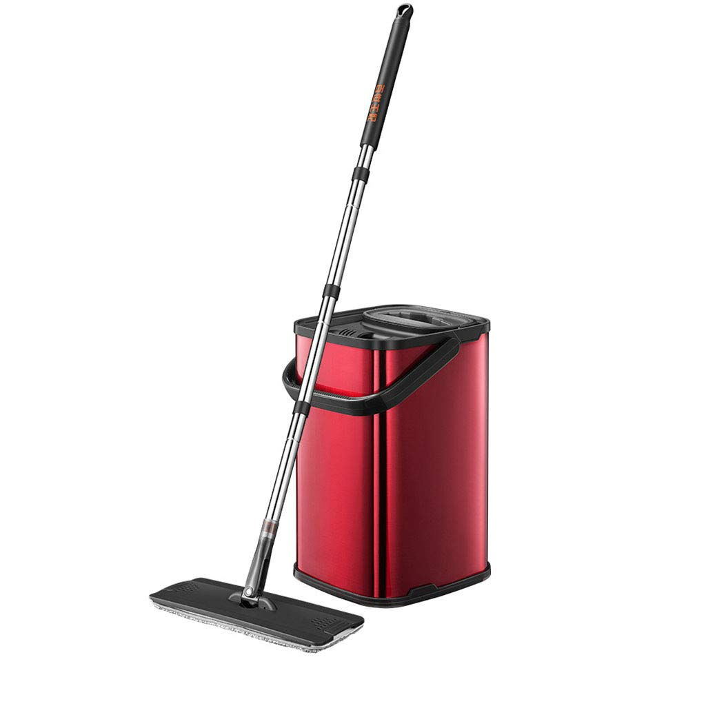 Professional Mop Wet and Dry Multi-Purpose Flat Mop Lazy Microfiber Mop Hand Wash Free Stainless Steel Handle Usage on Hardwood, Laminate, Tile,Red by WLQWER