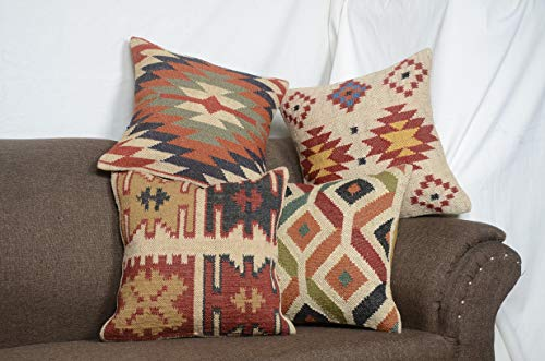 (Chouhan Rugs 4 PCS Set of Kilim Cushion Cover Jute Ethnic Pillow Boho Hand Woven Shams Hippie Indian Throw Art)