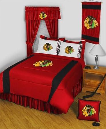 nhl chicago blackhawks 3pc queenfull bed comforter set