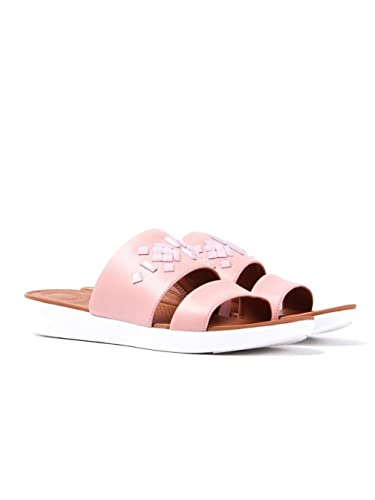 7d41f1d15722 Fitflop Women s Delta Leather Crystal Slide Sandals - Dusky Pink ...