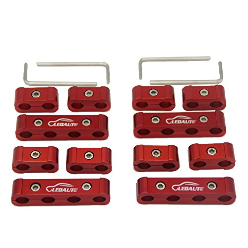 - LEDAUT 12pc Spark Plug Wire Separator Divider 8mm 9mm 10mm For Racing Car (Red)