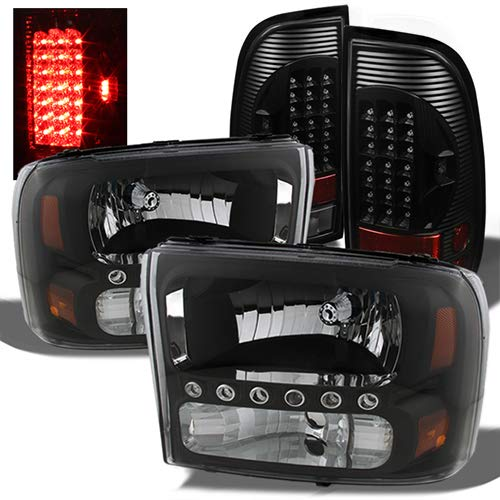 For Ford F250/350 Superduty Black Headlights Replacement + Black LED Tail Lights Left+Right Lamps