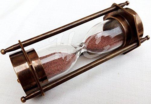 "5"" DECORATIVE BRASS SAND TIMER HOURGLASS WITH ANTIQUE MARITIME BRASS COMPASS"