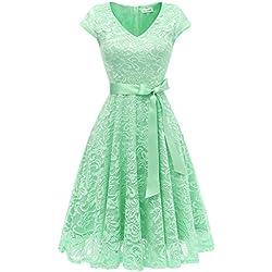 BeryLove Women's Floral Lace Short Bridesmaid Dress Cap Sleeve Cocktail Party Dress V Neck BLP7006Mint L