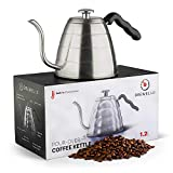 Brewello Pour Over Coffee Kettle with Easy to Read Built- In Thermometer for Exact Temperature and Gooseneck Spout Perfect for Hand Drip Coffee (40 Ounce | 1.2 Litre)