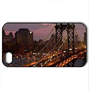lovely manhattan bridge at night - Case Cover for iPhone 4 and 4s (Farms Series, Watercolor style, Black)
