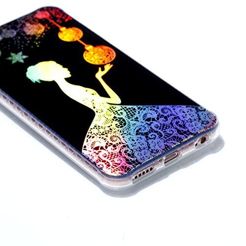 iPhone 6 Hülle, JIAXIUFEN Silikon Handy Hülle HandyHülle Hüllen Schutzhülle Case Cover für Apple iPhone 6 6S - Shiny Change Color Pretty Girl Design
