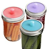 Pickle Pipe - One-Piece Silicone Waterless Fermentation Airlock Lids for Mason Jar Fermentation - Wide Mouth - 3 Pack