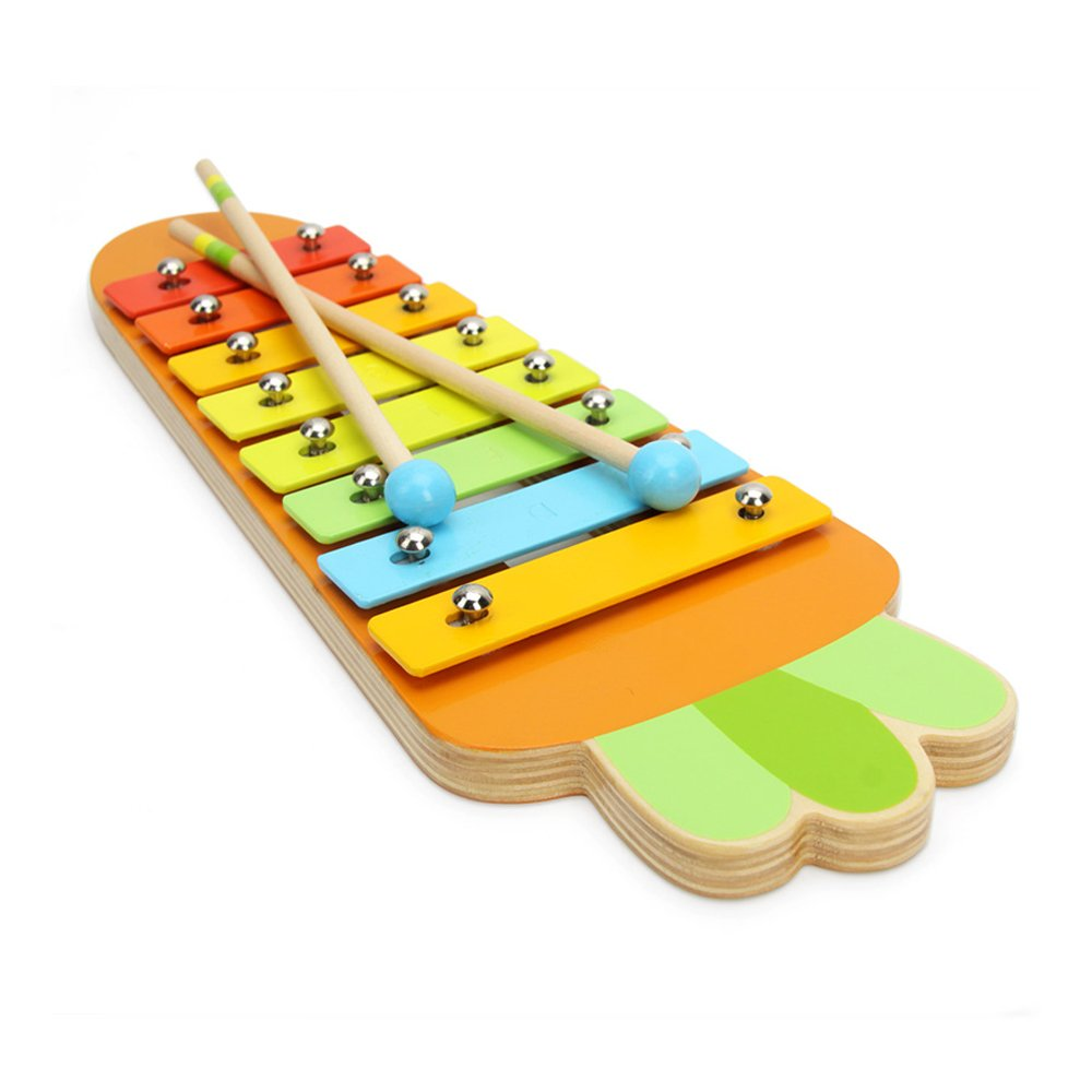Baidercor 8 Tones Xylophone Musical Toys Carrot Shape